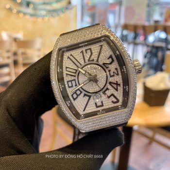 Đồng Hồ Nam Franck Muller Full Dimond Vanguard Yatching While Replica 1:1 Cao Cấp Nhất
