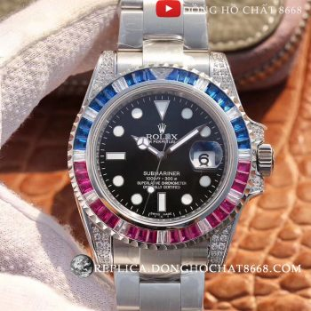 Đồng Hồ Swiss Rolex Submariner Blue&amp-Red Replica 1:1 Cao Cấp Nhất